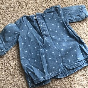 Carter's Shirts & Tops - Carters denim polka dot embroidered top